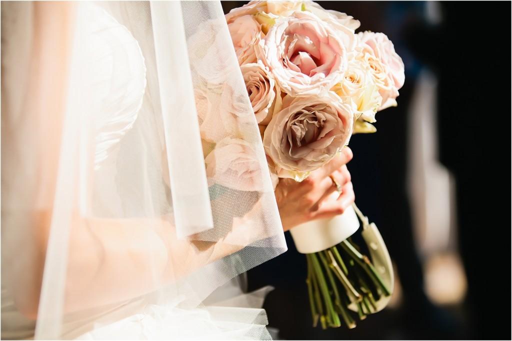 pink blush roses wedding bouquet