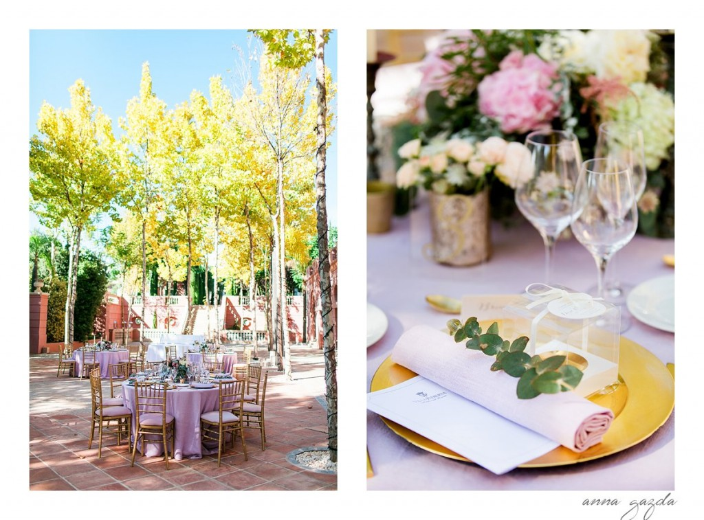 pink and gold decor at Villa Padierna wedding