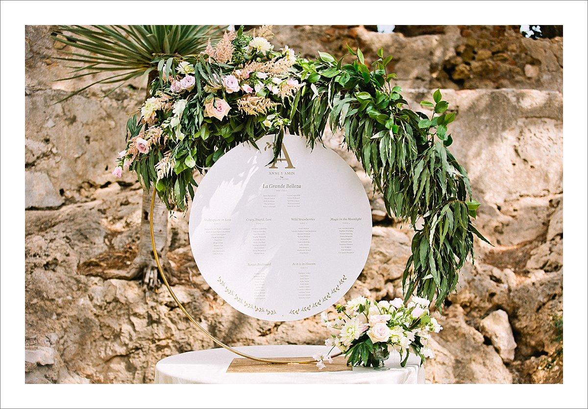wedding at the Castillo de Santa Catalina, Malaga, Spain, wedding decor
