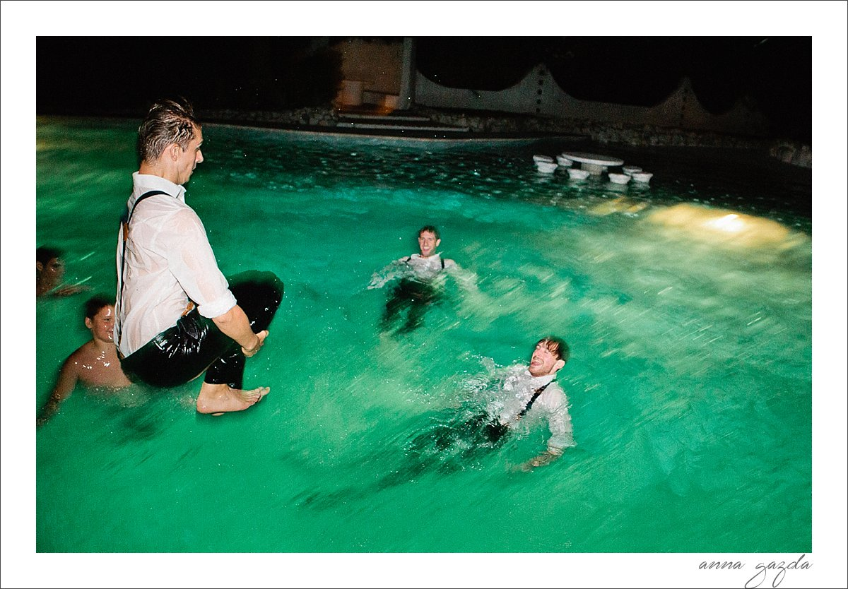 groomsmen in the pool