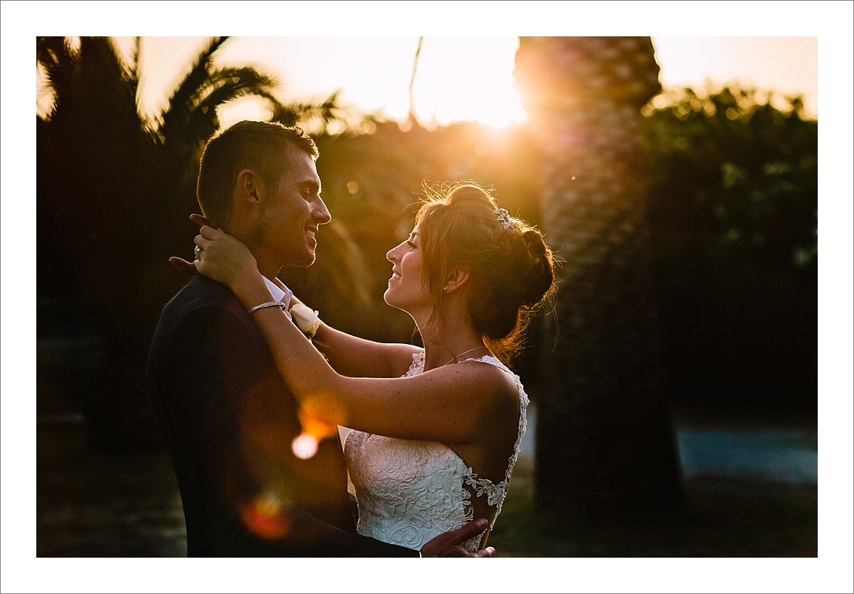 bride and groom during sunset portrait session Cortijo Pedro Jimenez