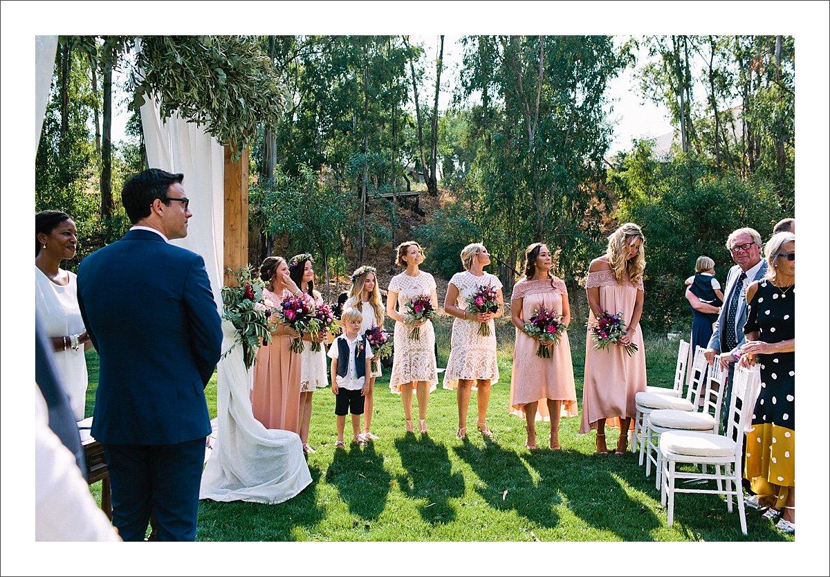 blush pink lace bridesmaid dresses at a wedding in Marbella Spain