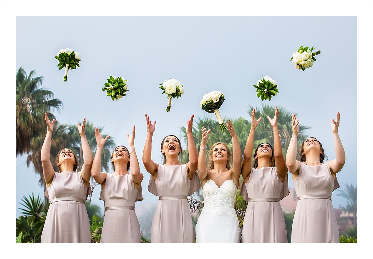 bride and bridesmaids portrait wedding in Spain