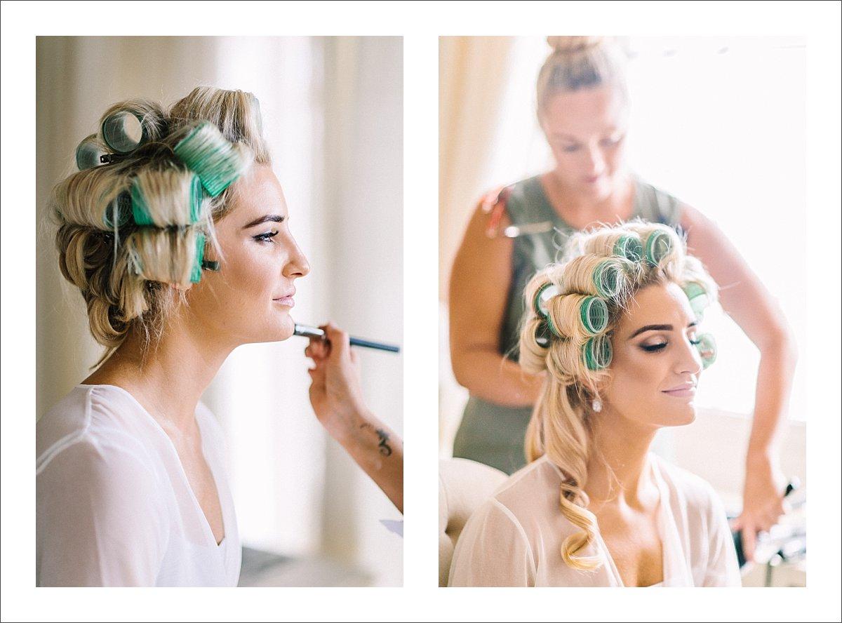 bride getting ready at villa cisne wedding