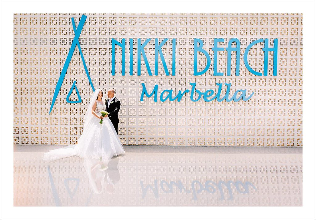 Nikki Beach Marbella wedding couple