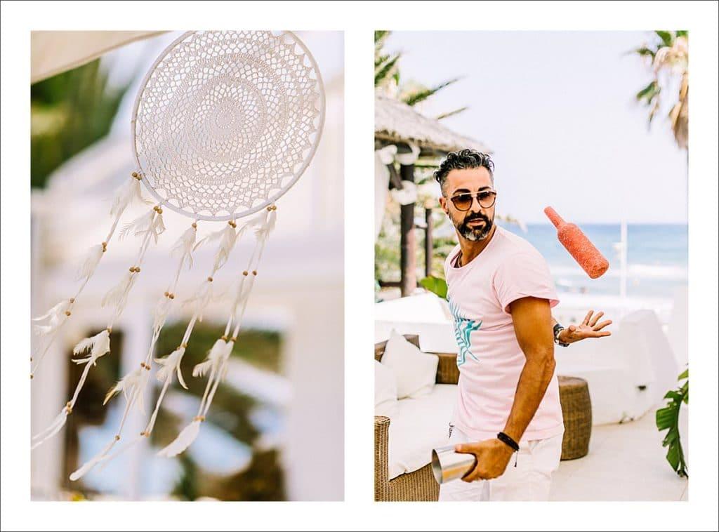 Nikki Beach Marbella wedding champagne spray