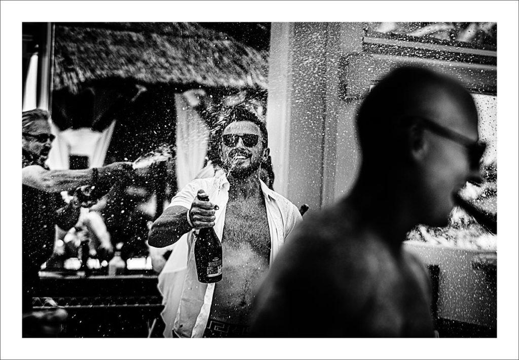 Nikki Beach Marbella wedding champange spray