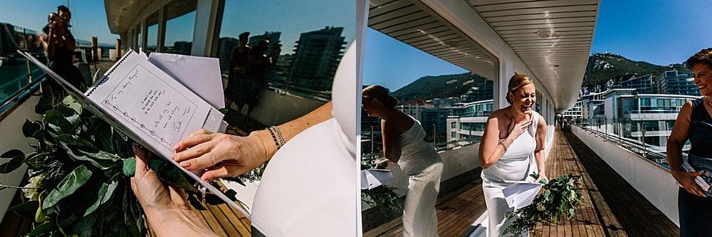 Sunborn wedding Gibraltar